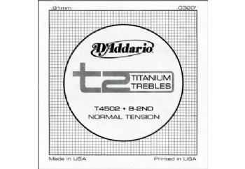 D'Addario T2 Titanium Normal Single String T4502 - si Tek Tel
