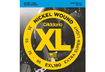 D'Addario EXL180 Nickel Wound Bass, Extra Super Light, Long Scale Takım Tel - Bas Gitar Teli 035-095