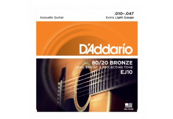 D'Addario EJ10 80/20 Bronze Acoustic Guitar Strings, Extra Light Takım Tel - Akustik Gitar Teli 010-047
