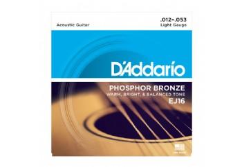 D'Addario EJ16 Phosphor Bronze, Light, 12-53 012-053 Takım Tel - Akustik Gitar Teli