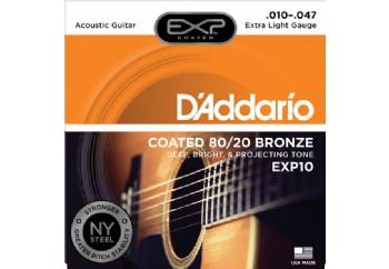 D'Addario EXP10 Coated 80/20 Bronze, Extra Light, 10-47 Takım Tel - Akustik gitar teli 010-047
