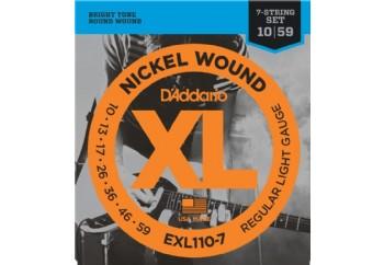 D'Addario EXL110-7 Nickel Wound, 7-String, Regular Light, 10-59 Takım Tel - 7 Telli Elekro Gitar Teli 010-059