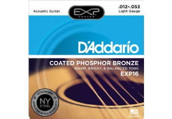 D'Addario EXP16 Coated Phosphor Bronze, Light, 12-53 Takım Tel - Akustik gitar teli 012-053