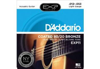D'Addario EXP11 Coated 80/20 Bronze, Light, 12-53 Takım Tel - Akustik gitar teli 012-053