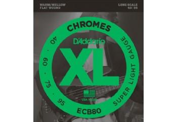 D'Addario ECB80 Chromes Bass, Light, 40-95, Long Scale Takım Tel