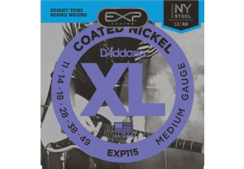 D'Addario EXP115 Coated Nickel Wound, Medium/Blues/Jazz, 11-49 Takım Tel - Elektro Gitar Teli 011-049