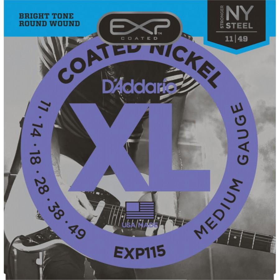 D'Addario EXP115 Coated Nickel Wound, Medium/Blues/Jazz, 11-49