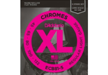 D'Addario ECB81-5 Chromes Bass 5-String, Light, 45-132, Long Scale Takım Tel - 5 Telli Bas gitar teli 045-132