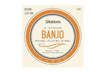 D'Addario EJ61 5-String Banjo, Nickel, Medium, 10-23 Takım Tel - Banjo Teli 010-023