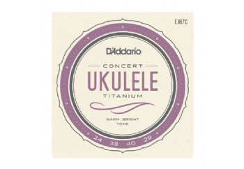 D'Addario EJ87C Titanium Ukulele, Concert Takım Tel