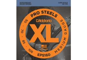 D'Addario EPS160 ProSteels Bass, Medium, 50-105, Long Scale Takım Tel - Bas Gitar Teli 050-105