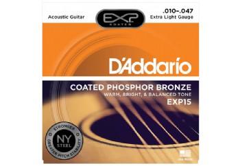 D'Addario EXP15 Coated Phosphor Bronze, Extra Light, 10-47 Takım Tel - Akustik Gitar Teli 010-047