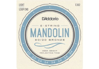 D'Addario EJ62 80/20 Bronze Mandolin Strings, Light Takım Tel - Mandolin Teli 10-34