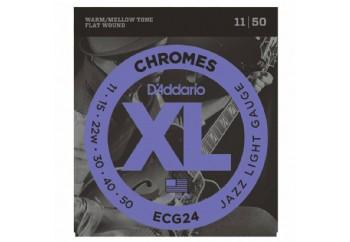D'Addario ECG24 Chromes Flat Wound, Jazz Light, 11-50 Takım Tel - Elektro Gitar teli 011-050