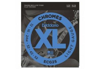 D'Addario ECG25 Chromes Flat Wound, Light, 12-52 Takım Tel - Elektro gitar teli 012-052