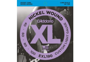 D'Addario EXL190 Nickel Wound Bass, Custom Light, 40-100, Long Scale Takım Tel - Bas Gitar Teli 040-100