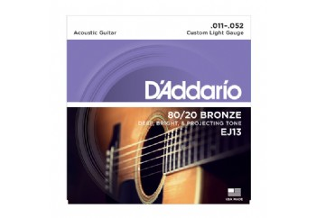 D'Addario EJ13 80/20 Bronze Acoustic Guitar Strings, Custom Light, 11-52 Takım Tel - Akustik Gitar Teli 011-052