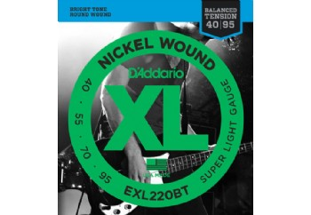 D'Addario EXL220BT Nickel Wound, Balanced Tension Super Light, 40-95 Takım Tel - Bas Gitar Teli 040-095