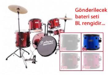 Extreme XDS565 BL - Mavi - Akustik Davul Seti