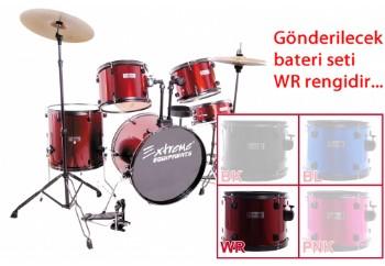 Extreme XDS565 WR - Kırmızı - Akustik Davul Seti