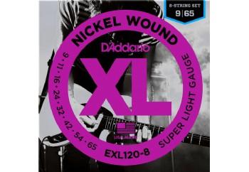D'Addario EXL120-8 Nickel Wound, 8-String, Super Light, 9-65 Takım Tel - 8 Telli Elektro Gitar Teli