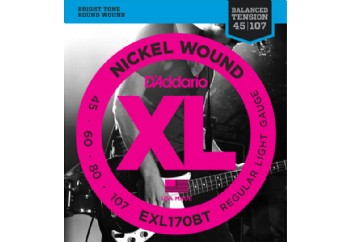 D'Addario EXL170BT Nickel Wound, Balanced Tension Regular Light, .45-107 Takım Tel - Bas Gitar Teli 045-107