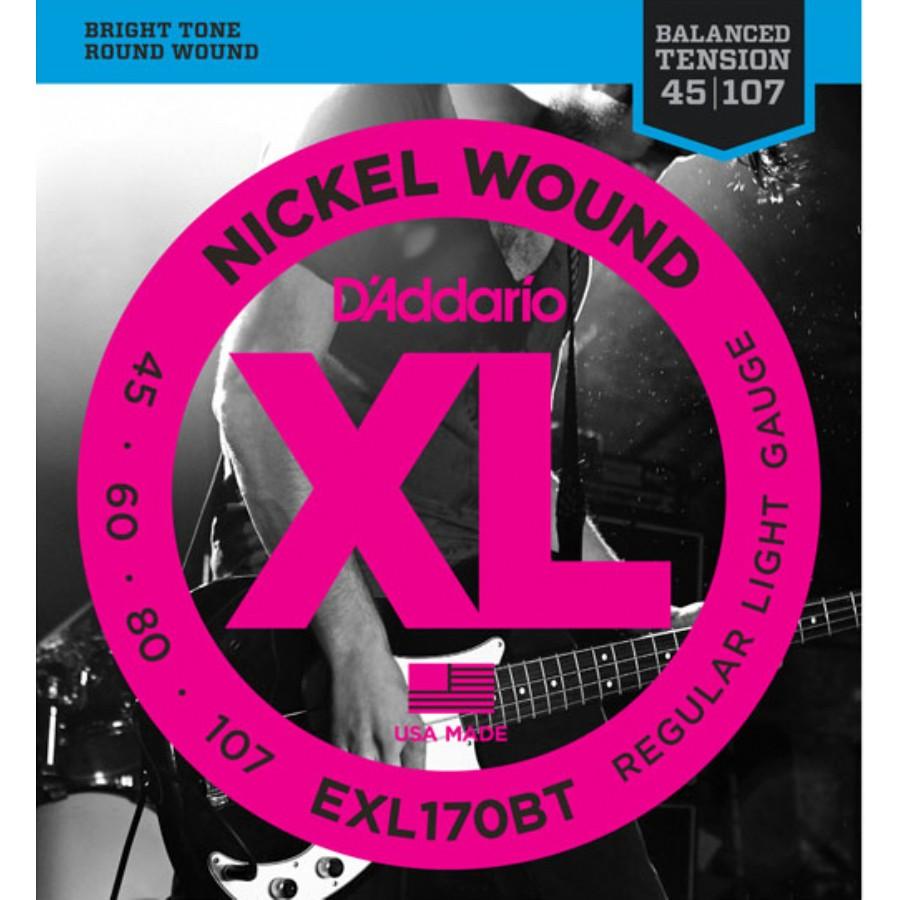 D'Addario EXL170BT Nickel Wound, Balanced Tension Regular Light, .45-107