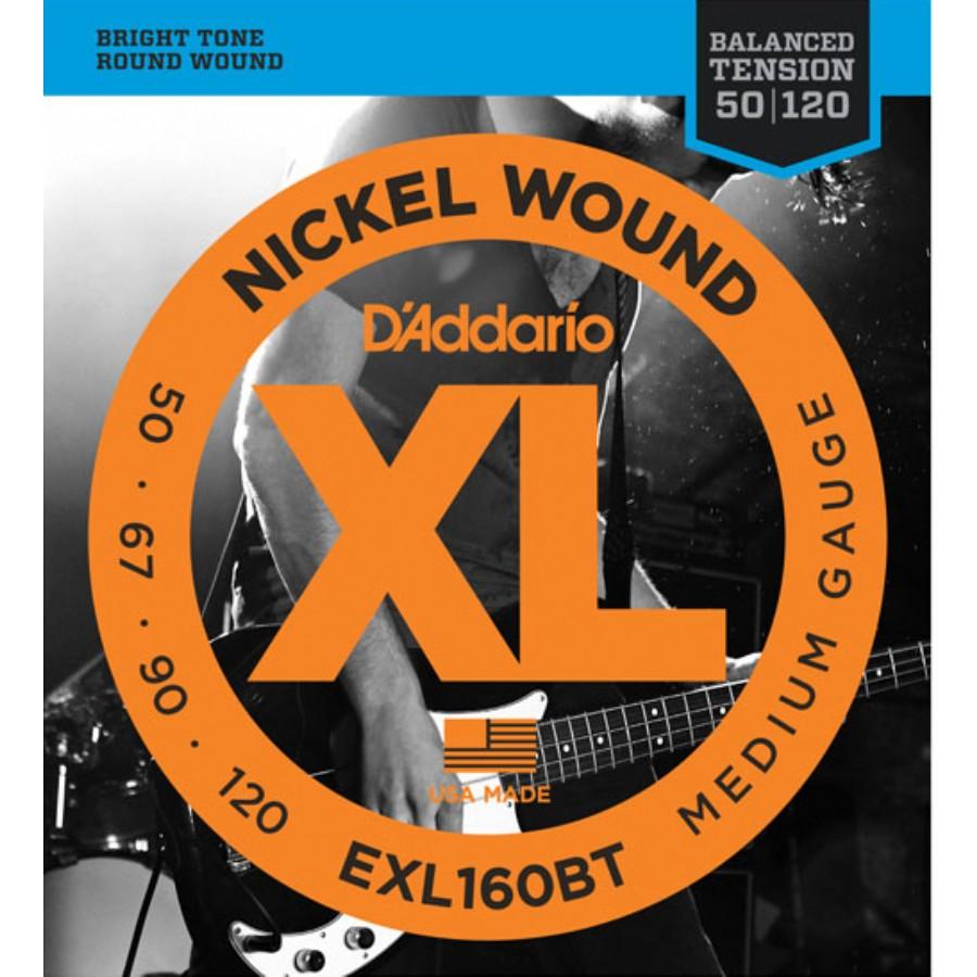 D'Addario EXL160BT Nickel Wound, Balanced Tension Medium, 50-120