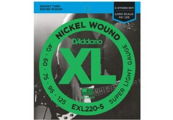 D'Addario EXL220-5 Nickel Wound 5-String Bass, Super Light, 40-125, Long Scale Takım Tel - 5 Telli Bas Gitar Teli 040-125
