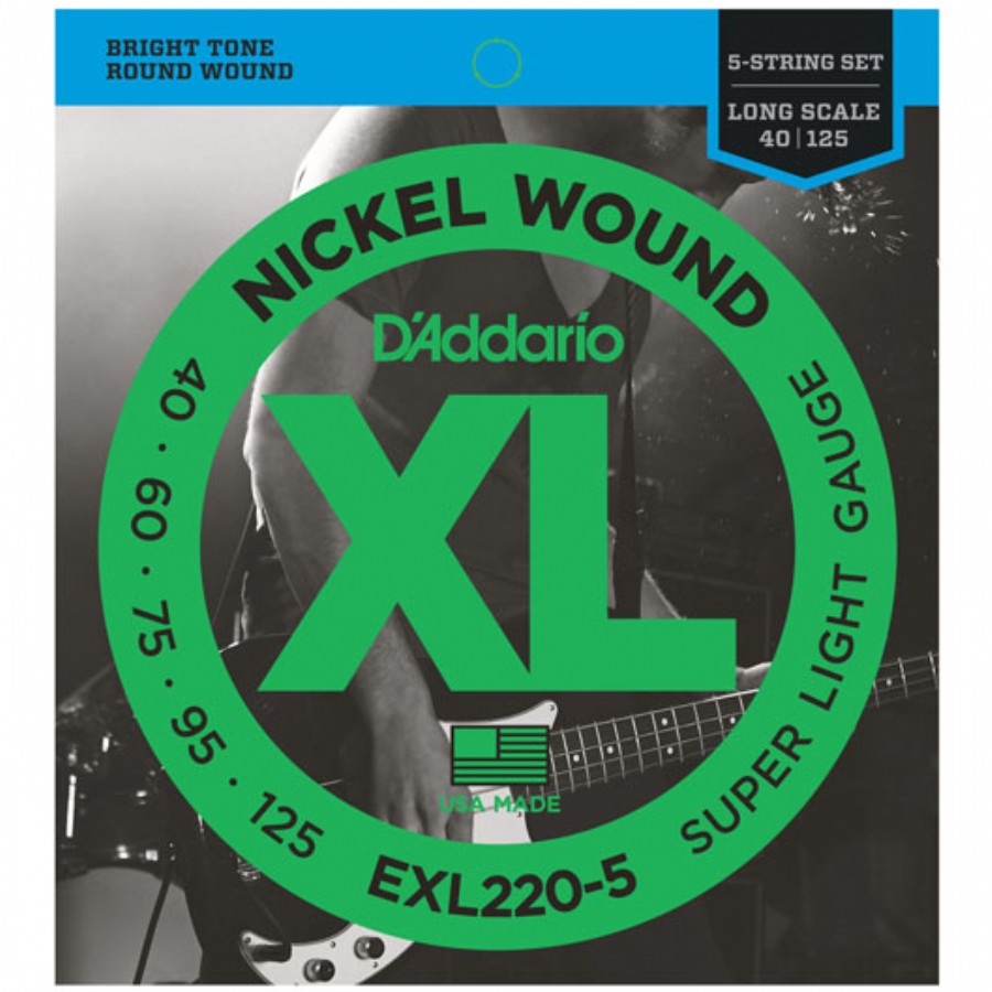 D'Addario EXL220-5 Nickel Wound 5-String Bass, Super Light, 40-125, Long Scale