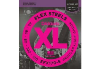 D'Addario EFX170-5 FlexSteels 5-String Bass, Light, 45-130, Long Scale Takım Tel - 5 Telli Bas Gitar Teli 045-130