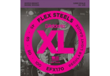 D'Addario EFX170 FlexSteels Bass, Light, 45-100, Long Scale Takım Tel - Bas Gitar Teli 045-100