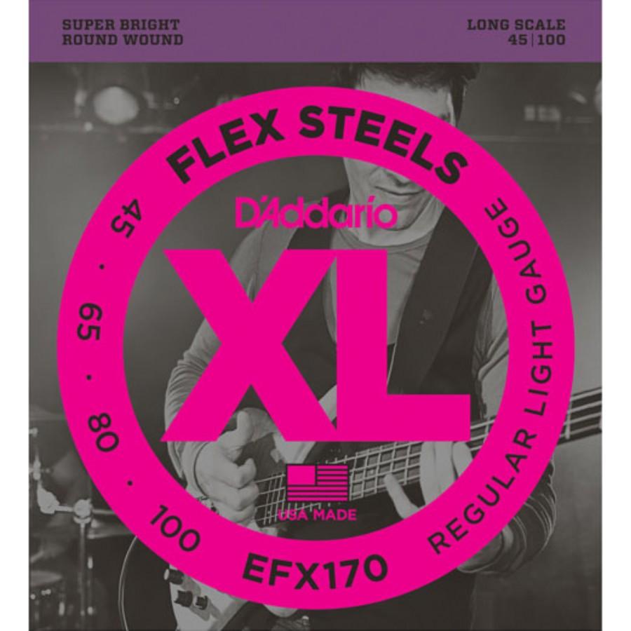 D'Addario EFX170 FlexSteels Bass, Light, 45-100, Long Scale