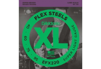 D'Addario EFX220 FlexSteels Bass, Super Light, 40-95, Long Scale Takım Tel - Bas Gitar Teli 040-095