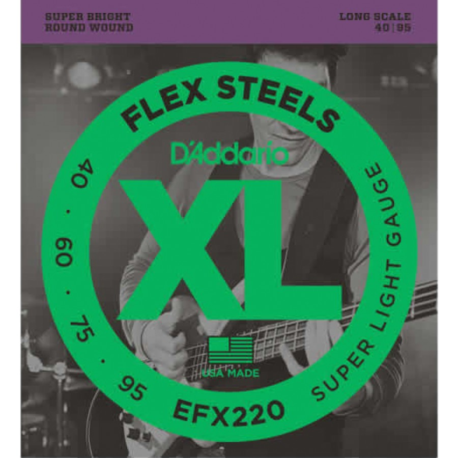 D'Addario EFX220 FlexSteels Bass, Super Light, 40-95, Long Scale