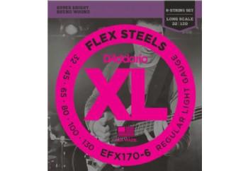 D'Addario EFX170-6 FlexSteels 6-String Bass, Light, 32-130, Long Scale Takım Tel - 6 Telli Bas Gitar Teli 032-130