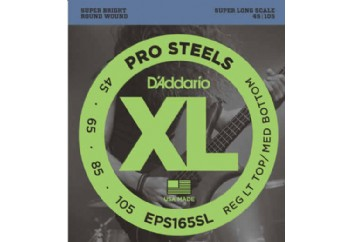 D'Addario EPS165SL ProSteels Bass, Custom Light, 45-105, Super Long Scale Takım Tel - Bas Gitar Teli 045-105
