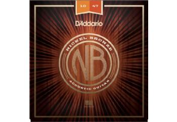 D'Addario NB1047 Nickel Bronze Acoustic Guitar Strings, Extra Light, 10-47 Takım Tel - Akustik Gitar Teli 010-047