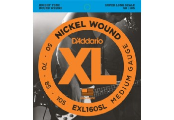 D'Addario EXL160SL Nickel Wound Bass, Medium, 50-105, Super Long Scale Takım Tel - Bas Gitar Teli 050-105