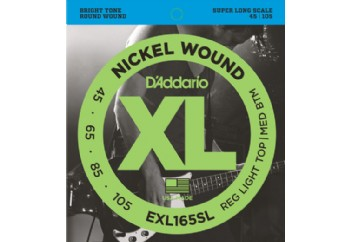 D'Addario EXL165SL Nickel Wound Bass, Custom Light, 45-105, Super Long Scale Takım Tel - Bas Gitar Teli 045-105