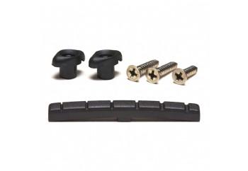 Graphtech PT-5001-00 Black TUSQ XL Slotted Nut & Retainer Pack - Elektro Köprü ve String Tree Seti