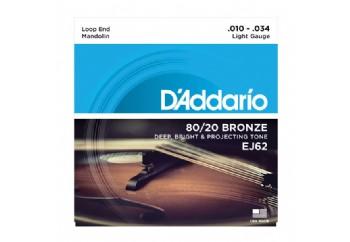 D'Addario EJ62 80/20 Bronze Mandolin Strings, Light Takım Tel - Mandolin Teli 010