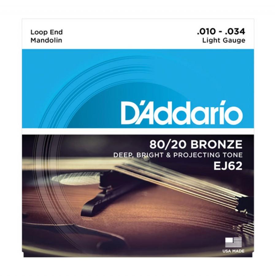 D'Addario EJ62 80/20 Bronze Mandolin Strings, Light