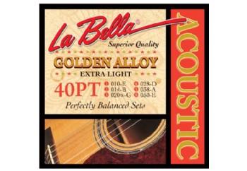 La Bella 40PT Golden Alloy, Extra Light Takım Tel - Akustik Gitar Teli 010-050