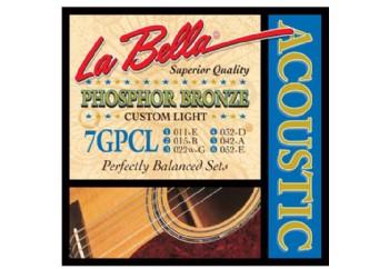 La Bella 7GPCL Phosphor Bronze, Custom Light Takım Tel - Akustik Gitar Teli 011-052