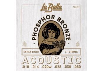 La Bella 7GPT Phosphor Bronze, Extra Light Takım Tel - Akustik Gitar Teli 010-050