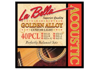 La Bella 40PCL Golden Alloy Custom Light Takım Tel - Akustik Gitar Teli 011-052