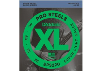 D'Addario EPS220 ProSteels Bass, Super Light, 40-95, Long Scale Takım Tel - Bas Gitar Teli 040-095