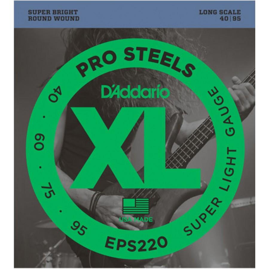 D'Addario EPS220 ProSteels Bass, Super Light, 40-95, Long Scale