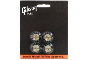 Gibson PRMK-020 Top Hat Style Black Knobs with Gold Metal Insert 2 Volume - Potans Düğmesi